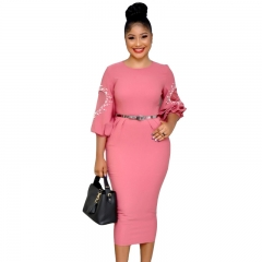Women Autumn Three Quarter Sleeve Pearls Mesh Lace Patchwork Office Bodycon Sheath Pencil dress M PinK