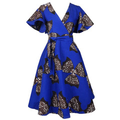 Sexy Elegant Pockets Mini Dress Party Ladies Summer Bodycon Beach Print Women Bow Clothing Dresses XL Blue