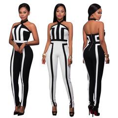 New Style Women Dashiki Fashion Print Elastic Cloth Hanging Strip Sleeveless Jumpsuits Dress Black S