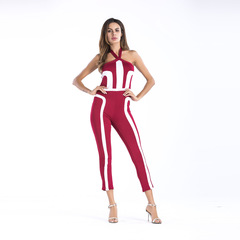 New Style Women Dashiki Fashion Print Elastic Cloth Hanging Strip Sleeveless Jumpsuits Dress Wine Red XL