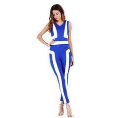 New Summer Printing Jumpsuit Fashion Women's Casual Long Little Feet Pants Pants Jumpsuits Skinny Blue XL