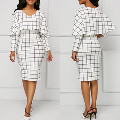 Autumn New Women Mid Dress Plaid Long Sleeve Ruffles Sexy Elegant Slim Office Ladies Pencil Dress S White
