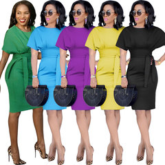 Office Lady Formal Dress Summer Short Sleeve Pencil Dress Women Solid Bow Sashes Elegant Vestido S Green