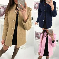 Autumn Winter Warm Women Blends Coats Long Sleeve Turn Down Collar Buttons Elegant Casual Pink S