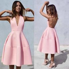 New Arrivals Sexy Women Backless Halter Midi Dress Pink Deep V neck Party Dress Club Wear Dress S Pink