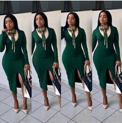 New Arrivals Autumn Fashion Women Long Sleeve Bodycon Dress Elegant Office Ladies Midi Dresses M Green