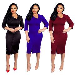 Womens Spring Autumn Dresses Ruffled Long Sleeve Street Lady Button Split Bodycon Dress Vestidos S Blue