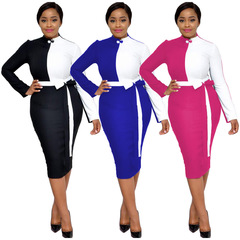 2019 Spring New Arrival Sexy Women Vestidos 3 Color Patchwork O-neck Full Sleeve Evening Midi Dress S Pink