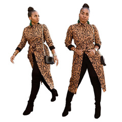 Women Autumn Winter Workout Fashion Front Slit Brown Full Sleeve Leopard Long Trench Coat Outwear Leopard S
