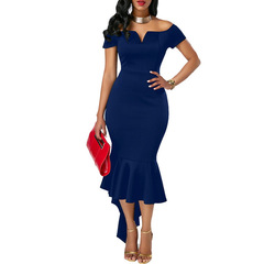 Womens Elegant Off the Shoulder Stretch Bodycon Fashion Long Irregular Mermaid Cocktail Party Dress S Blue