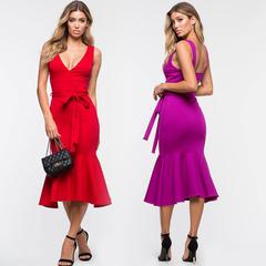 2018 Women Mermaid Midi Dress Evening Party dress Vestidos Sexy Backless Summer Dress Bodycon Dress S Purple