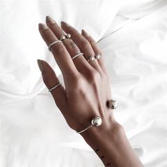 Fashion Bohemia Simple Hand Cuff Charm Bracelet Bangle for Women Silver Bracelets Femme Jewelry Gift 1 1 Set