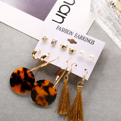 Fashion Statement Acrylic tassel Stud Earrings Set for Women Wedding Party Bridal Gift 6 Pairs Gold 6 Pairs