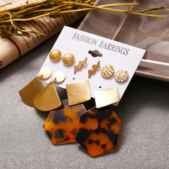 Fashion Statement  Acrylic Earrings Set for Women Vintage Wedding Party Bridal Jewelry Gift 5 Pairs Gold 5 pairs
