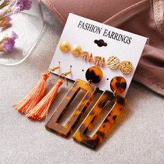 Statement Acrylic tassel Earrings Set for Women Vintage Earrings Wedding Party Bridal Gift 5 Pairs Gold 5 pairs