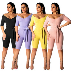 Sexy bodysuit tracksuit rompers womens jumpsuit v-neck hollow out slim playsuits office lady femme Purple S