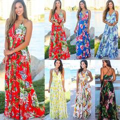 Women Flora Printed Deep V-neck Spaghetti Strap Dress Bohemian Sleeveless Summer Casual Beach Dress S Green