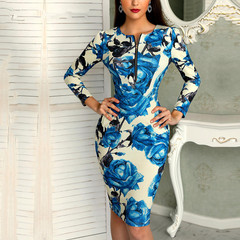 Women Work Office Business Floral Belted Pencil Dress Casual Patchwork Sheath Bodycon Midi Dress S Sky Blue