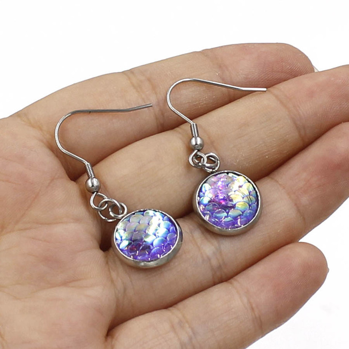 Fashion Colorful Fish/Dragon Scale Earrings Stud Earrings Party Wedding Jewelry Trendy Mermaid Random A Pair