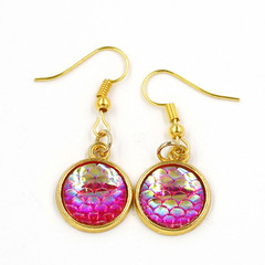 Fashion Colorful Fish/Dragon Scale Earrings W Earrings Party Wedding Jewelry Trendy Mermaid Pink A Pair