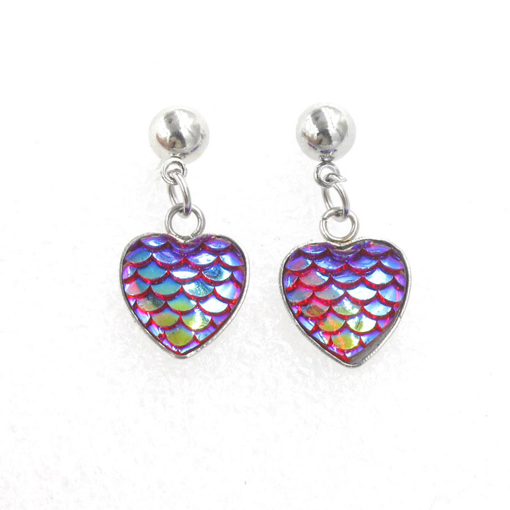 Fashion Colorful Heart Stud Earrings Party Wedding Jewelry Trendy Multicolor Mermaid Fish Earrings Random A Pair