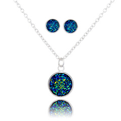 12MM Mermaid Shaped Fish Scale Shaped Necklace and Stud Earring Set for Women Wedding Jewlry Gift Random 1Set