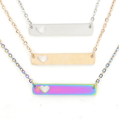 Hollow Heart Blank Bar Pendant Necklace Stainless Steel Mirror Polished 35*6mm Personalized Necklace 18inch Steel 1PCS