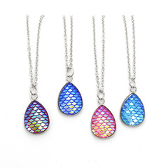 Fashion Colorful Water Drop Stud Mermaid Shaped Fish Necklace for Women Wedding Gift Random 1PCS