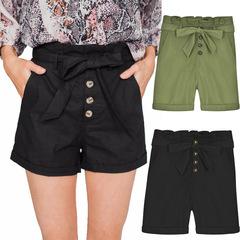 High Stylish Summer Cotton Shorts Women Button Belt Tie Female Shorts Ruffle Casual Shorts Green S