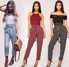 New Fashion Blue Striped Women Casual Trouser Summer Patchwork Pockets Dresses Pleated Pencil Pants Red S
