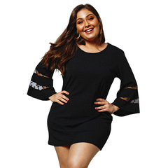 Black Mesh Full Flare Sleeve High Waist Loose Plus Size 3XL 4XL Dress Women Casual Summer Lace Dress 3XL Black