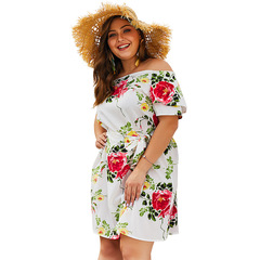 2019 Best Selling Plus Size Slash Neck Sleeves Printed Women Dress Loose Summer Ladies Casual Dress XL White