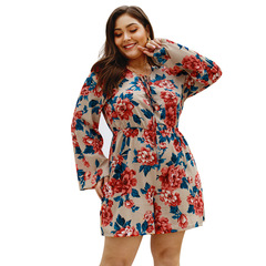 2019 Hot Sale Plus Size Deep V-Neck Flare Sleeves Women's Playsuit Loose Summer Ladies Playsuit XL Apricot