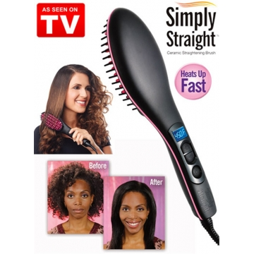 Straight  Hair Straightener Brush Comb Digital Electric Straightening Hair Dryer Brush as picture 27.5cm*7cm*4cm