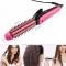 Multifunctional 3 in 1 hair sticks corn clip hair straightener hair comb roll Corn Waver rose red 27cm*3cm*4cm