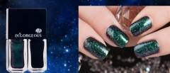 2Pcs/Set BK Brand Holographic Starry Sky Nail Polish Black Base Color+Glitter Nail Enamel  Nail Art 01 5ML*2