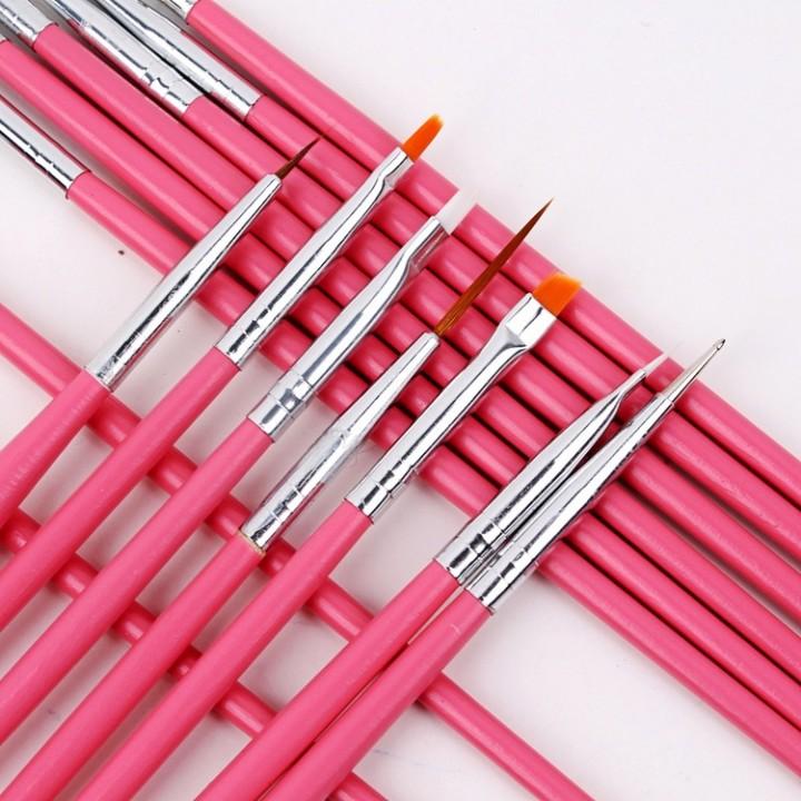 15 Pcs Nail Art Pen Nail Brushes Nail Tools Nail Gel Professional Painting Pen pink as picture