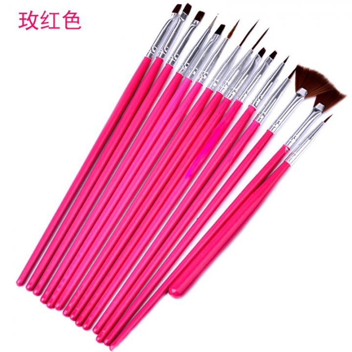 15 Pcs Nail Art Pen Nail Brushes Nail Tools Nail Gel Professional Painting Pen rose red as picture