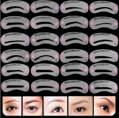 24 Pcs Pro Reusable Eyebrow  Set Styling Shaping Grooming Template Card Easy Makeup as picture
