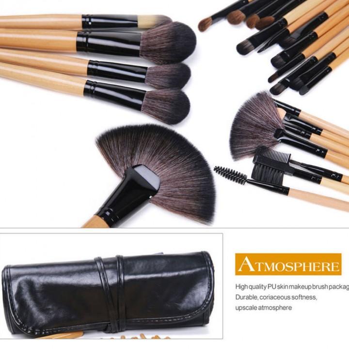 24 Pcs Wood Makeup Brushes Cosmetic Tool Eyeshadow Powder Consealer  Set black