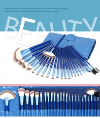 24 Pcs Makeup brushes  blue case High Quality  Makeup Brush Kit Blue Wooden Handle Gift blue