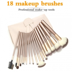 18 Pcs Makeup Brushes Set  Make Up Brush Eyeliner Lip Brush With High Quality Bag gold
