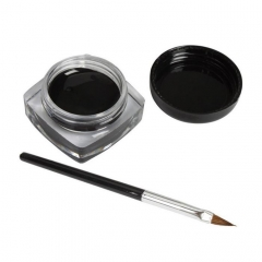 Black Gel Eyeliner Make Up Waterproof Smudge-proof Cosmetics Set Eye Liner Makeup + 1 Brushes as picture