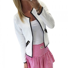 Women Jacket Spring Autumn Women Work Coat Long Sleeve Pockets Slim Short Cardigan Coat white l
