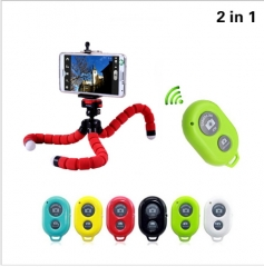 2in1 Car Phone Holder Flexible Octopus Tripod Bracket Selfie Stand Mount With Bluetooth Remote radom 15*3.5*3.5