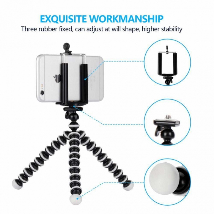 Small Octopus Flexible Digital Camera Stand Monopod Mini Tripod with Holder  Cell Phone Holder AS PICTURE 16.5*3.5*3.5