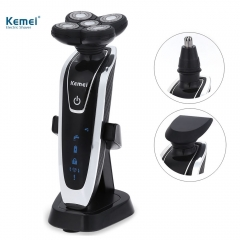 Kemei  3 in 1 Rechargeable Electric Shaver 5 Blade Washable Electric Shaving Razor for Men Face Care as picture