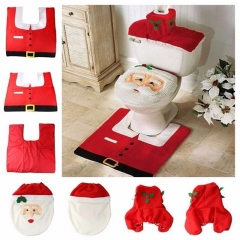 Christmas New Santa Claus Toilet Seat Cover and Rug Bathroom Set Christmas Decorations For Home 1 55×57.5×2