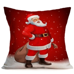 Pillowcase Christmas Decorations For Home Tree  Cotton Linen Cushion Cover Set Red Pillow Case 1 45×45