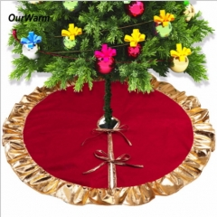 1pc 90cm Red Christmas Tree Skirt with Golden Ruffle Edge New Year Decorations Xmas Decoration as picture 90*90
